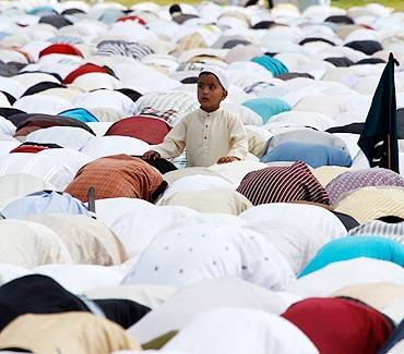 Kashmiri Muslims pray during Eid al-Fitr in Srinagar