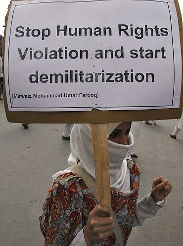 A protester in Srinagar