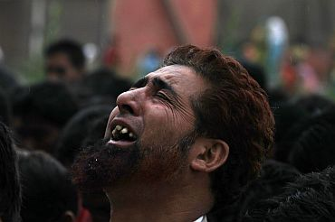 The funeral procession of a Kashmiri youth killed in police firing in Srinagar