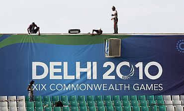 Work on at the Major Dhyan Chand National Stadium, one of the venues for the Commonwealth Games