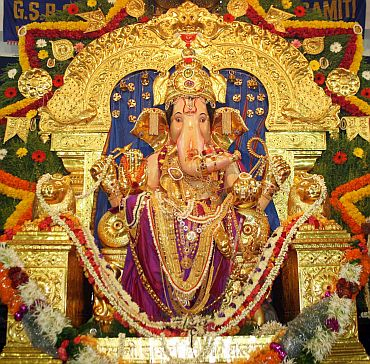 The Lord's idol in a Ganesh mandal in Mumbai