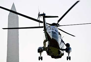 The US Marine One helicopter carrying former US President George W Bush leaves the White House in Washington, DC