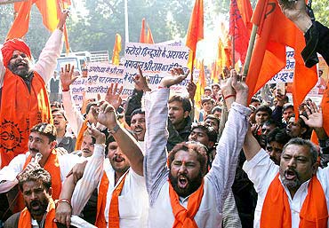 Hindu activists demand construction of the Ram temple at the dispute site