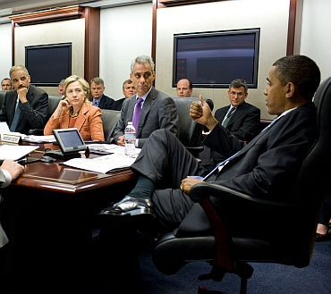 President Obama at a meeting with senior White House officials
