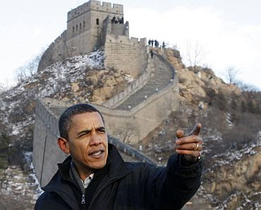 Obama at the Great Wall of China last year