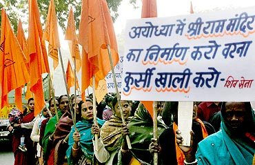 A demonstration to demand the construction of Ram Temple