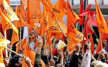 Shiv Sena activists shout slogans during a demonstration in New Delhi