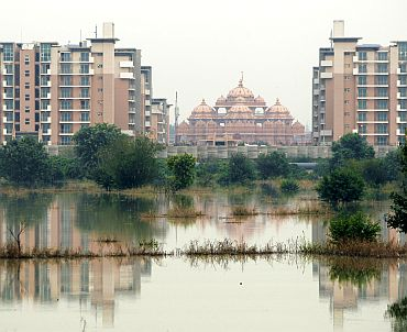 The athletes village of the 2010 Commonwealth Games is pictured surrounded by flood waters of the river Yamuna in New Delhi