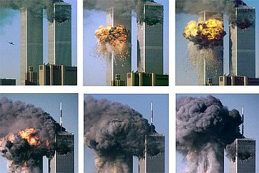 Sequence of photos shows hijacked United Airlines Flight 175 approaching and hitting the World Trade Centre's south tower, bursting into flames and raining a hail of debris on Manhattan. A gaping hole in the north tower can be seen following a similar attack earlier in the day.