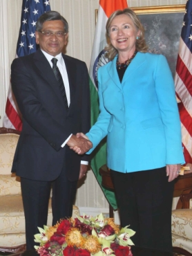 External Affairs Minister S M Krishna with Secretary of State Hillary Clinton