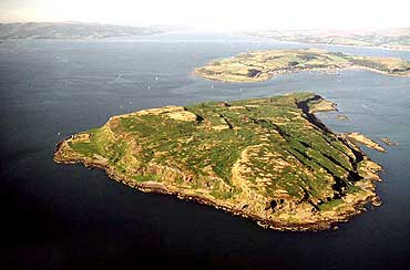 Aerial view of Little Cumbrae island