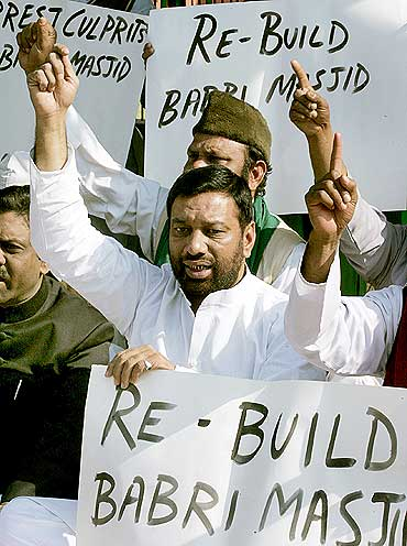 A group of Muslims demonstrate in New Delhi, against the razing of the Babri Masjid