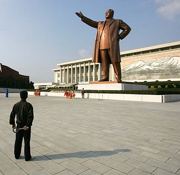 A giant statue of Kim Il Sung in central Pyongyang