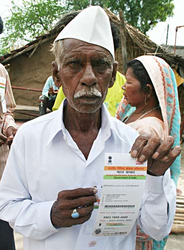 Padvi Tarachand Rumal with his UID card