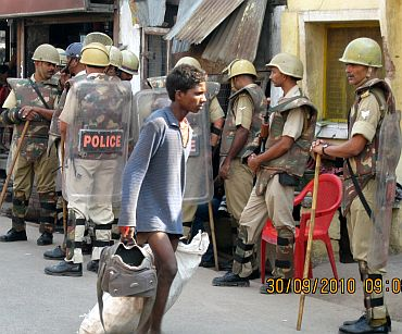 Security personnel stand guard at Ayodhya
