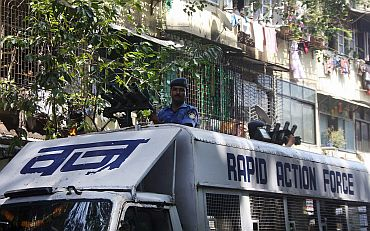 A Rapid Action Force anti-riot van in Mumbai's Byculla area, September 29