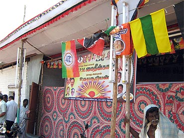 A DMK party office in rural Tamil Nadu