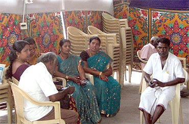 Women party workers in the AIADMK election office at Tirunelveli