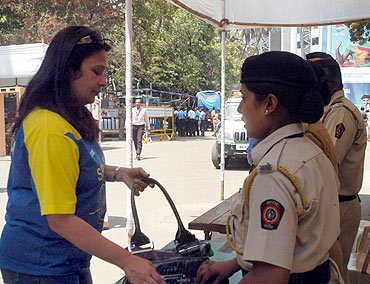 Security check at the Wankhede stadium