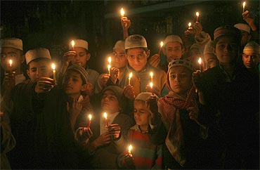 A candle-light demonstration for the victims of the Samjhauta Express blast