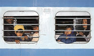 A file photo of a family inside the Samjhauta Express train