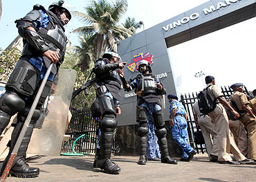Rapid Action Force personnel outside Wankhede stadium before the WC finals