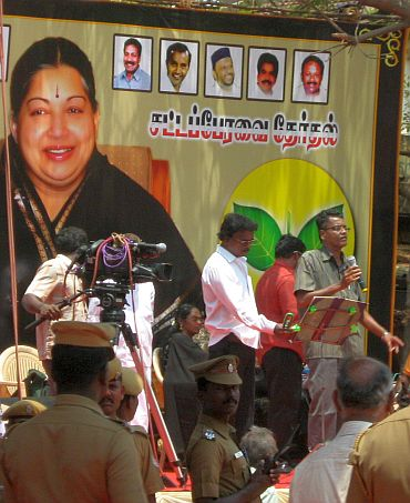 A poster of Jayalalithaa is seen as part of AIADMK's campaign during Assembly elections in Tamil Nadu in May 2011.