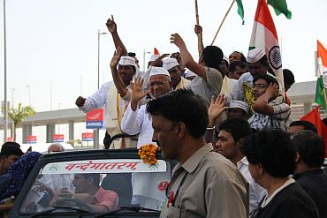 Social activist Anna Hazare leads an anti-corruption protest in New Delhi on Tuesday