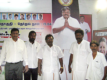DMDK Virudhunagar district secretary N D Raja (centre) with party workers