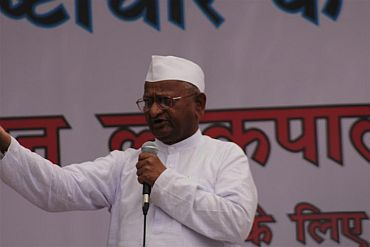 Activist Anna Hazare at Jantar Mantar in New Delhi