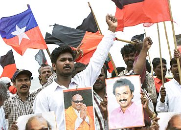 DMK supporters walk in rally