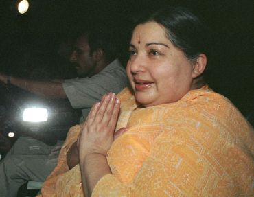 AIADMK chief Jayalalitha greets supporters