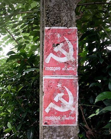 Communist pamphlets on an electricity post