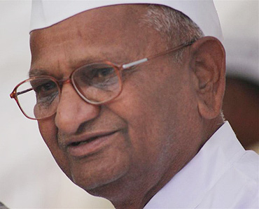 Activist Anna Hazare on Day 2 of this fast at Jantar Mantar