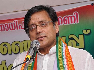 Shashi Tharoor addresses a gathering in Thiruvananthapuram