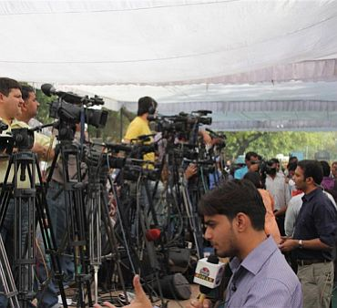 Media persons at the protest venue