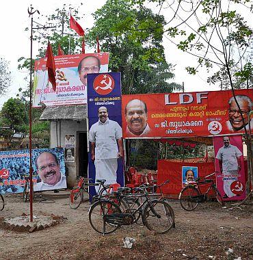 LDF posters in Punnapra, Kerala
