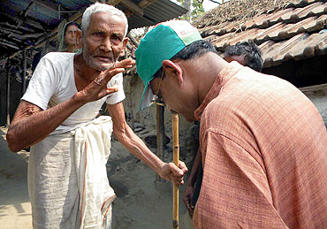 Mukherjee takes blessings from a village elder