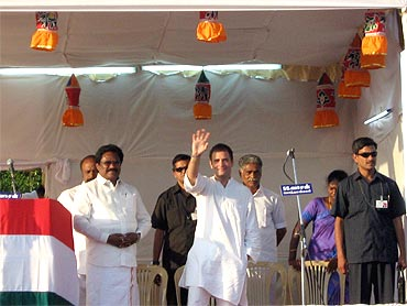 Rahul Gandhi addresses a rally at Kaladaikurichi, Sivaganga district of Tamil Nadu