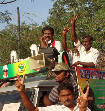 Rajendran on the campaign trail