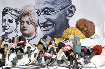 Hazare rests during his recent campaign