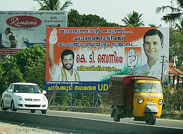 Rahul Gandhi was the focus of Congress posters during the Kerala assembly election three years ago. Photograph: Reuben NV/Rediff.com