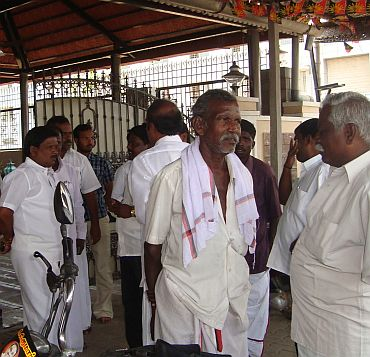 Party workers outside the DMK office in Perambalur