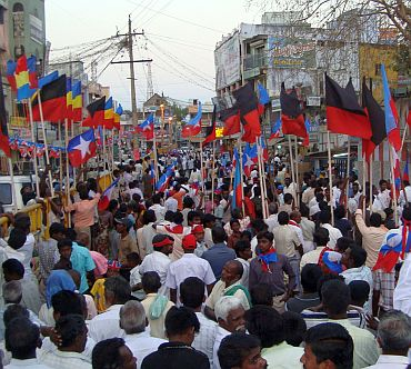 Crowds at a DMK-Viduthalai Chirutai Katchi election meeting in Perambalur on Thursday