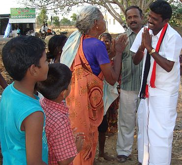 AIADMK's Perambalur candidate R Tamilselvam on the campaign trail