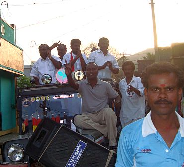 Tamilselvam leads a convoy to Velur on Thursday