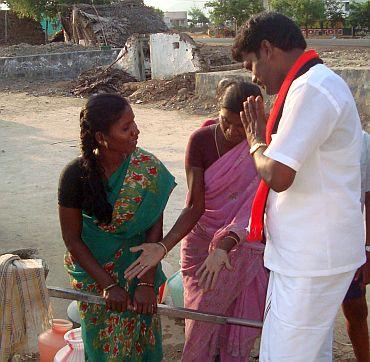 AIADMK's Tamilselvam campaigns