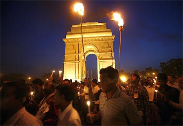 A candelight protest at India Gate in New Delhi