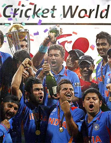 Team India celebrates after winning the World Cup against Sri Lanka on April 2