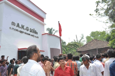 Party activists gather at the AKG Mandiram, named after the late Marxist stalwart A K Gopalan